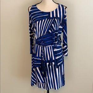 Calvin Klein Cold Shoulder Tassel Tie Detail Dress
